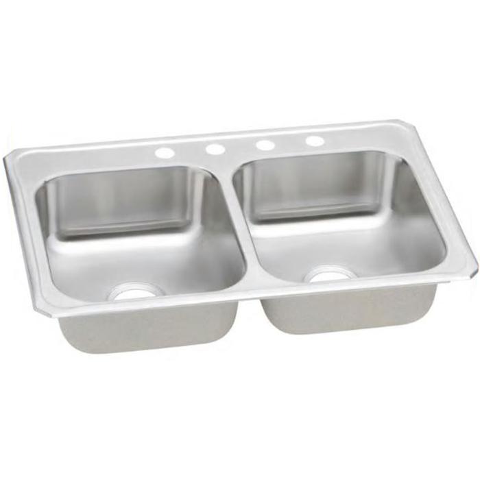 DAYTON® DSEJ23322-4 Elite Satin 20 ga 300 Stainless Steel Drop-In Top Mount Sink, 2-Bowl, 4-Faucet Holes