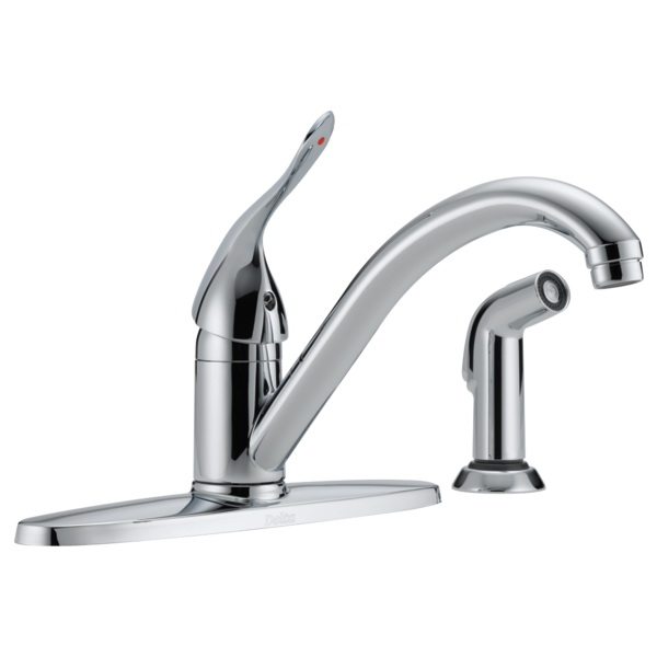 DELTA® 400LF-HDF Chrome Brass Lever Handle Kitchen Faucet with Spray, 3/8 in