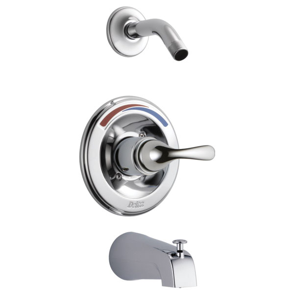 DELTA® T13491 Chrome Plated Metal Wall Less Head Single Function Tub/Shower Faucet Trim, 1/2 in, IPS