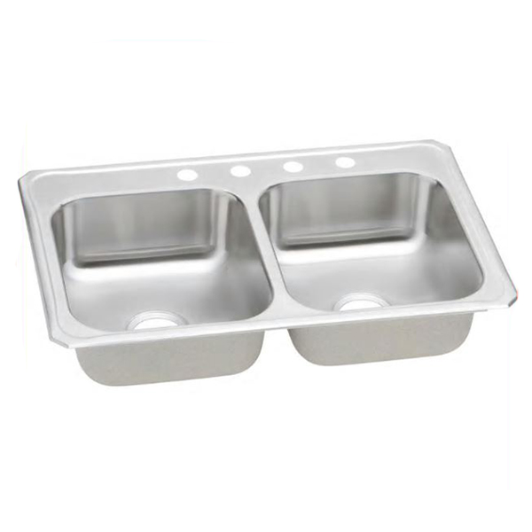 Elkay® Celebrity® CR3322-4 Brushed Satin 20 ga 304 Stainless Steel Drop-In Top Mount Sink, 2-Bowl, 4-Faucet Holes