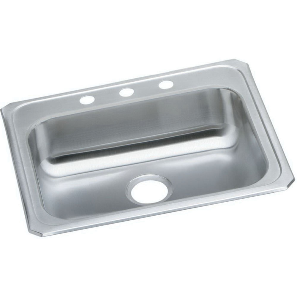 Elkay® Celebrity® GECR25213 Brushed Satin 20 ga 304 Stainless Steel Top Mount Kitchen Sink, 1-Bowl, 3-Faucet Hole