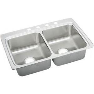 Elkay® LRQ3322-3 Lustertone 18 ga 304 Stainless Steel Drop-In Top Mount Sink, 2-Bowl, 3-Faucet Holes
