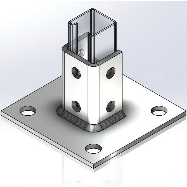 Empire 9094PBZ Zinc Plated Clear Post Base for 1-5/8 in x 1-5/8 in Strut