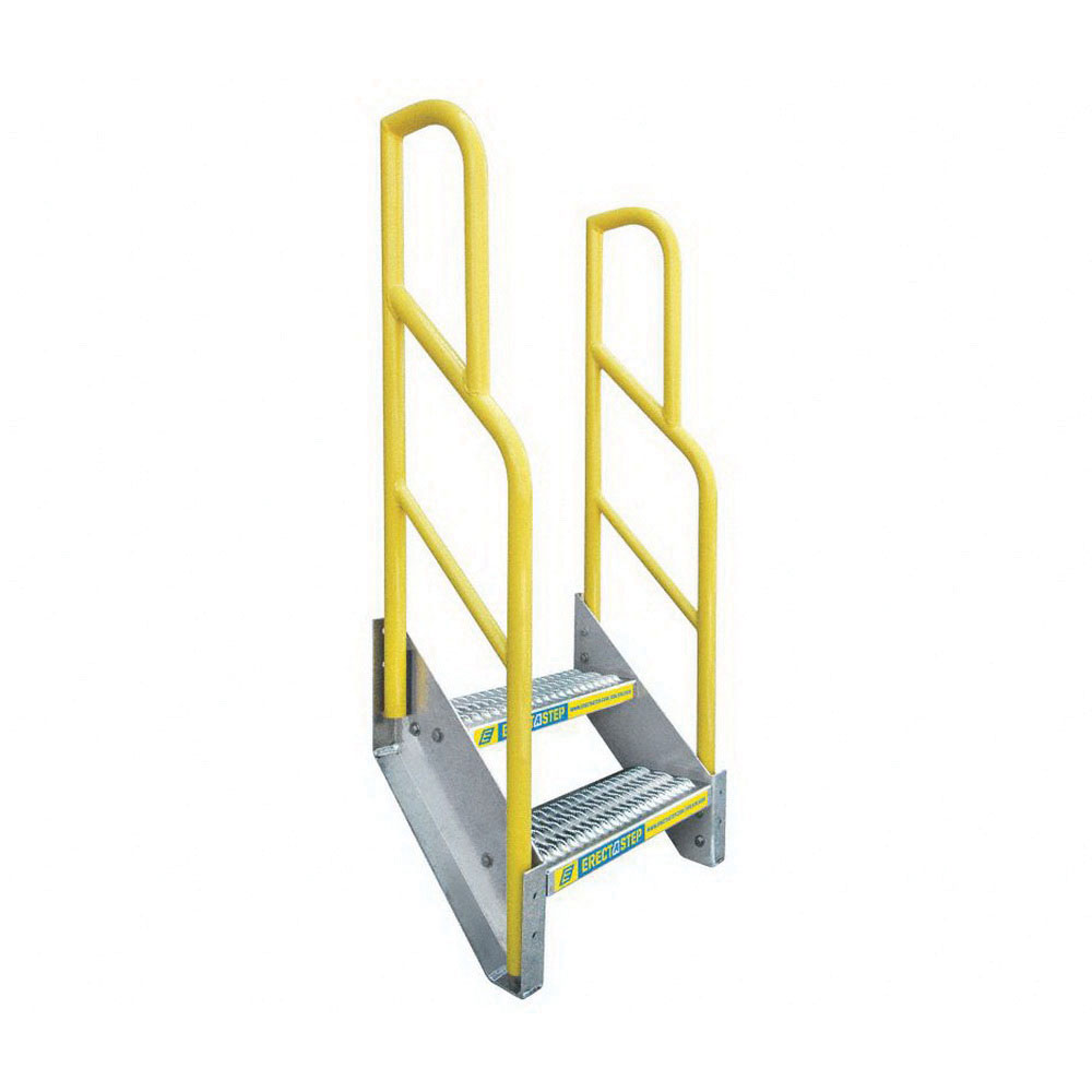 ErectaStep® 11387 Aluminum Safety Stair Unit with Handrail, 27 in H, 2 Step, 1000 lb