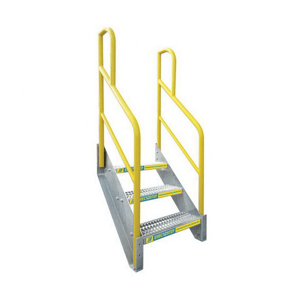 ErectaStep® 11388 Aluminum Safety Stair Unit with Handrail, 36 in H, 3 Step, 1000 lb