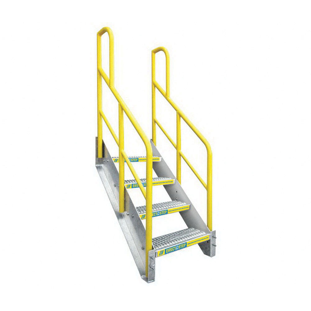 ErectaStep® 11389 Aluminum Safety Stair Unit with Handrail, 45 in H, 4 Step, 1000 lb