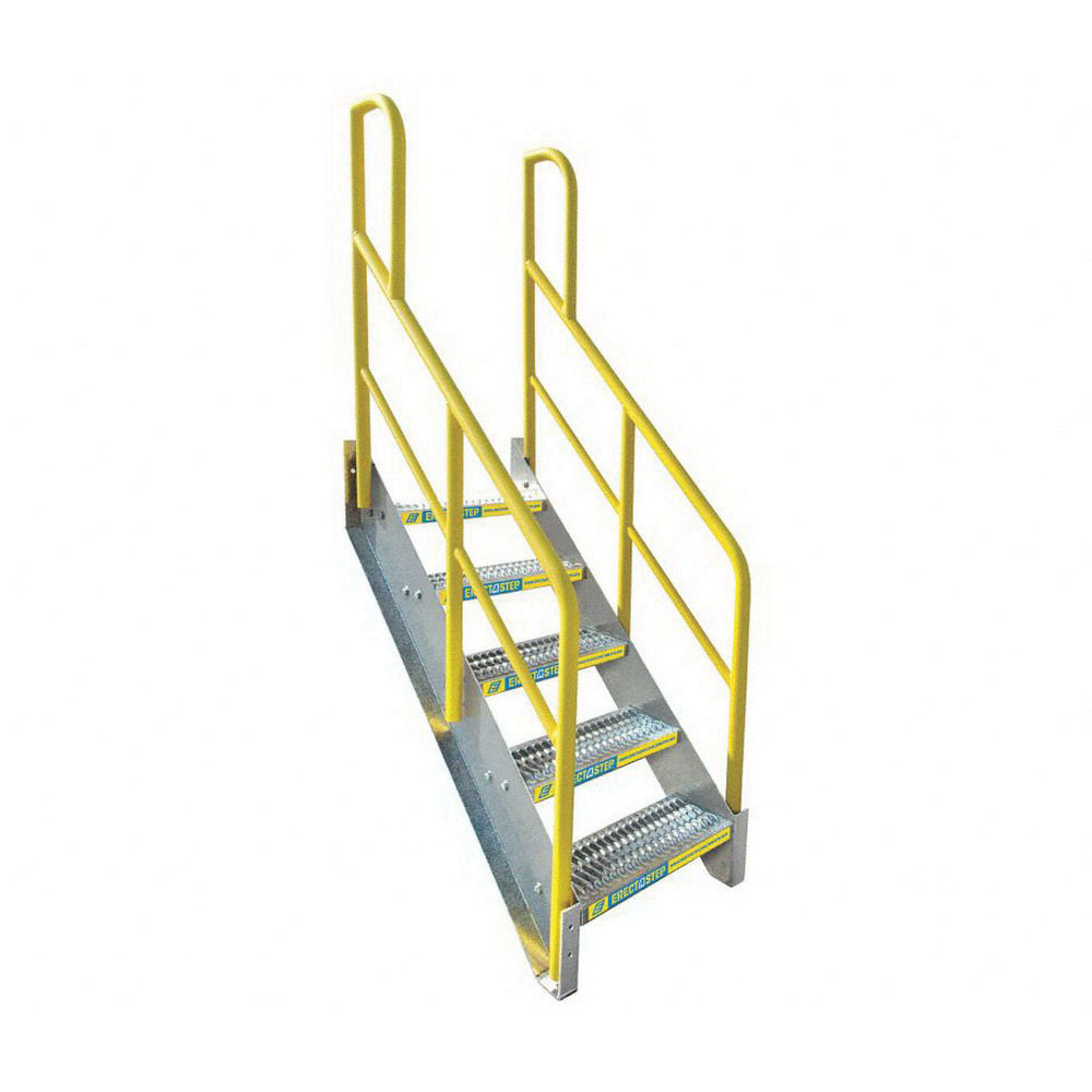 ErectaStep® 11390 Aluminum Safety Stair Unit with Handrail, 54 in H, 5 Step, 1000 lb