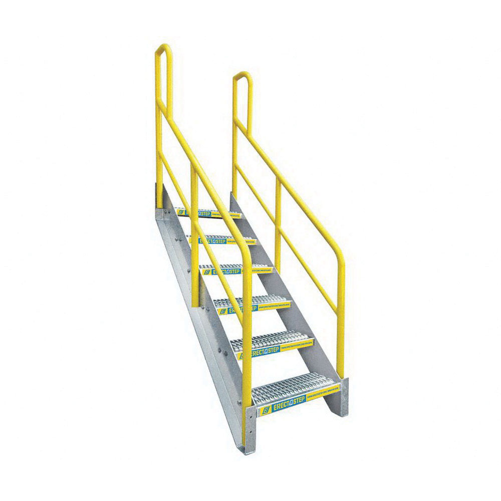 ErectaStep® 11391 Aluminum Safety Stair Unit with Handrail, 63 in H, 6 Step, 1000 lb