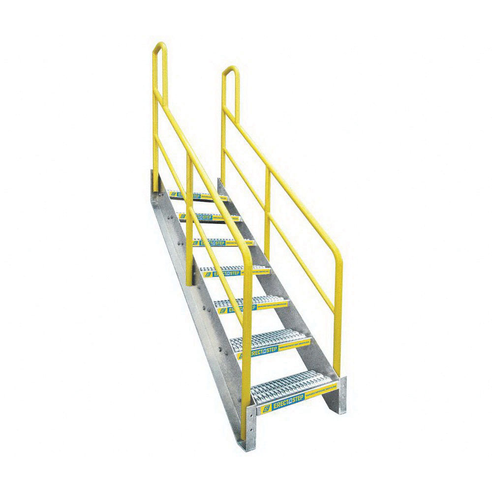 ErectaStep® 11392 Aluminum Safety Stair Unit with Handrail, 72 in H, 7 Step, 1000 lb