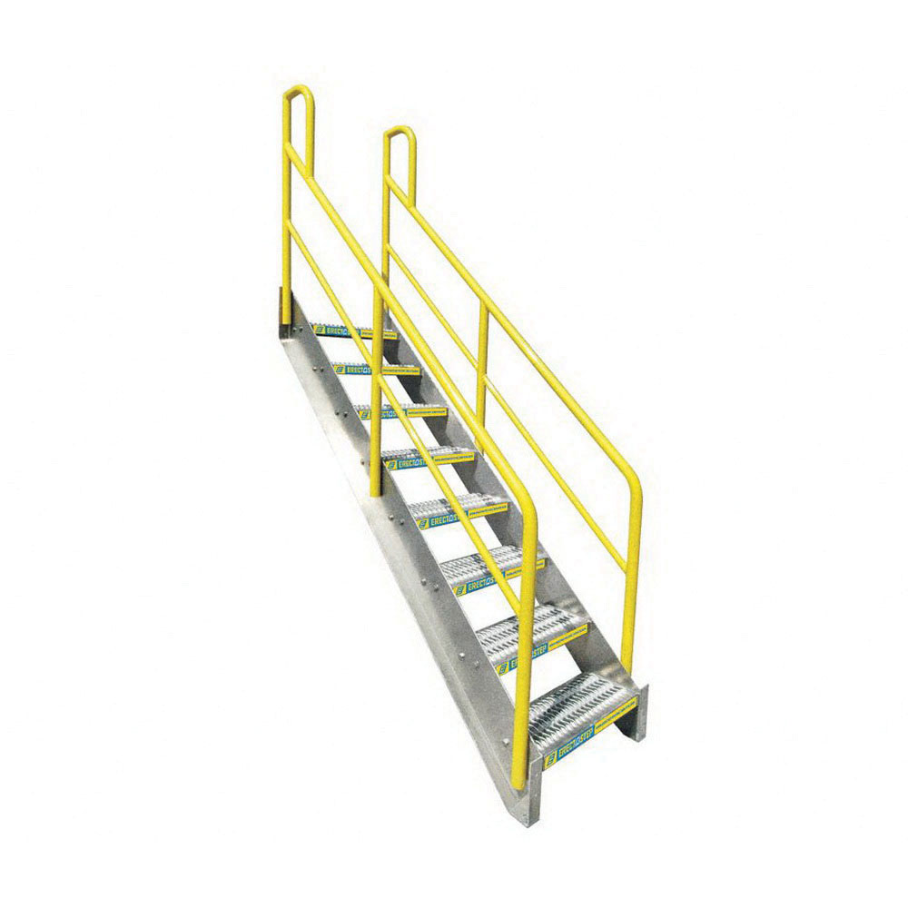 ErectaStep® 11393 Aluminum Safety Stair Unit with Handrail, 81 in H, 8 Step, 1000 lb