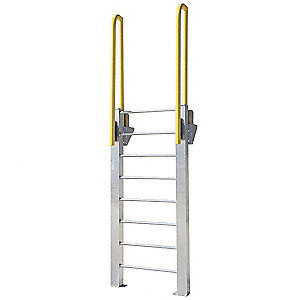 ErectaStep® 11463 Aluminum Fixed Ladder, 72 in H, 7 Step, 1000 lb