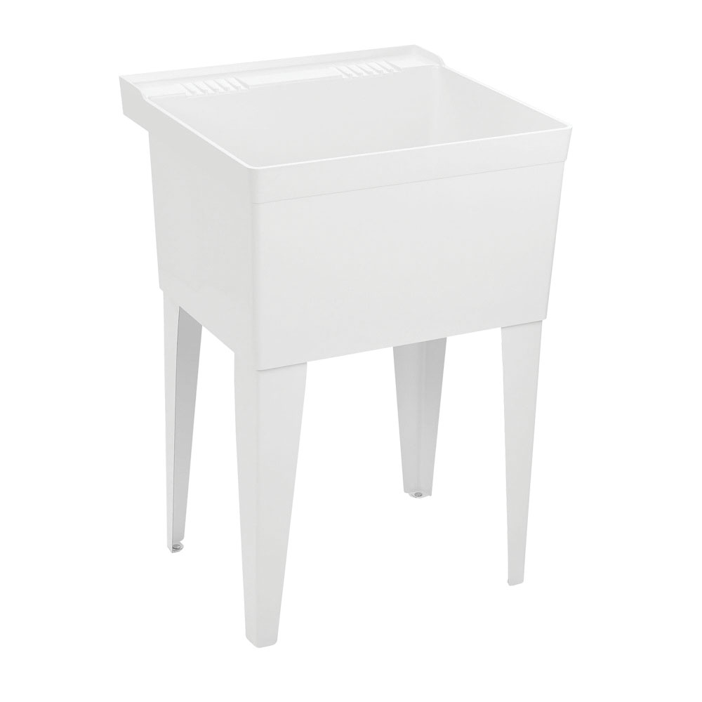 FIAT® FL-1 SERV-A-SINK® White Floor Mount Molded Stone Laundry Tub with Legs, 2-Faucet Hole