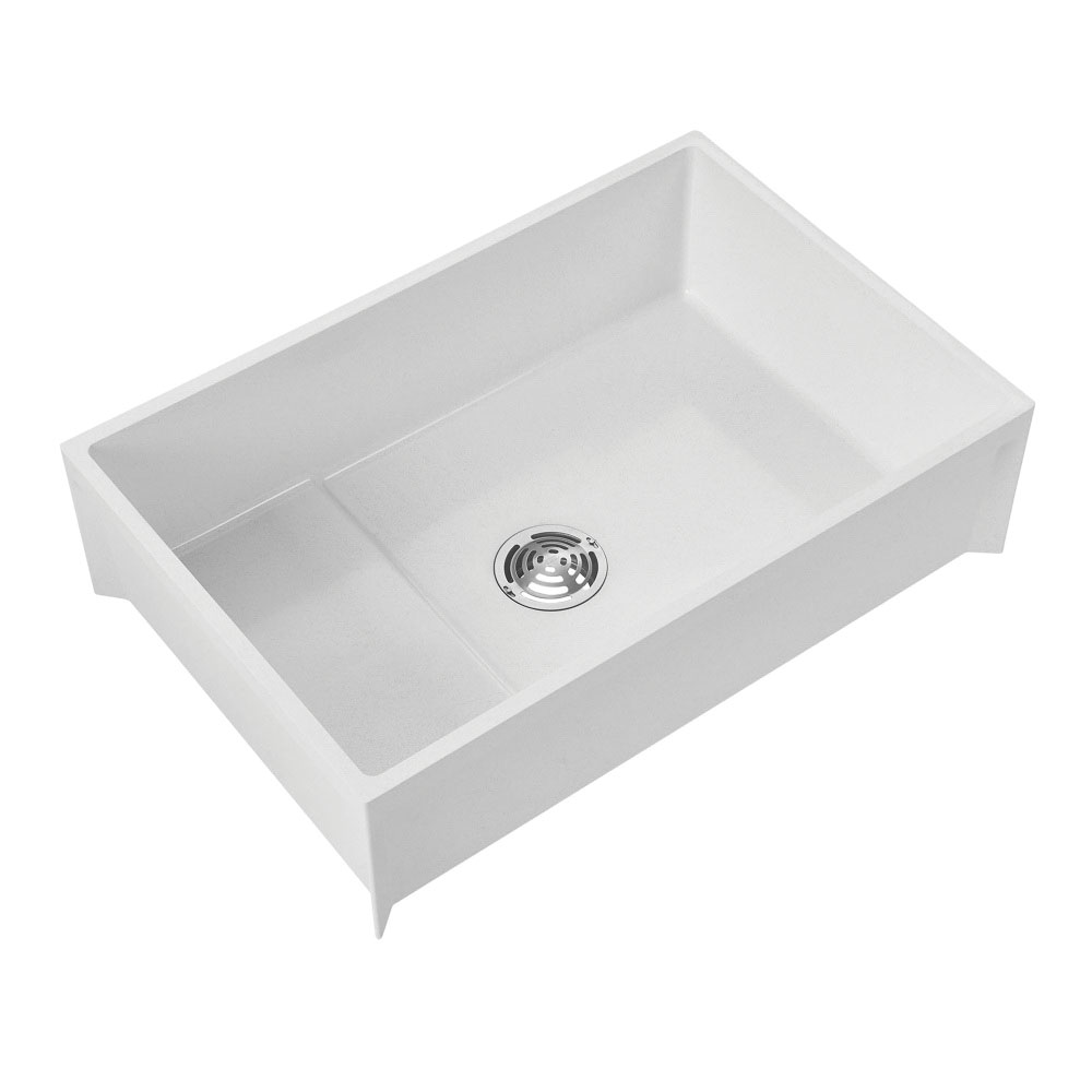 Fiat™ MSB3624 White Stainless Steel Mop Service Basin, 36 in x 24 in x 10 in