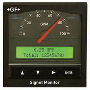 GF+ 3-5500 Flow Monitor, 12 - 24 V, 14 - 131 deg F, 3.8 in H x 3.8 in W