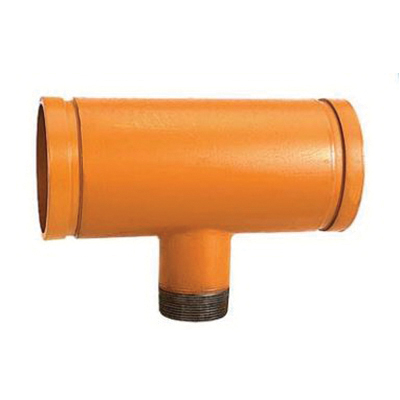 Grinnell® 75510 Orange Painted Carbon Steel SCH 40 Fabricated Reducing Tee, 4 in x 4 in x 2 in, Grooved x Grooved x MNPT