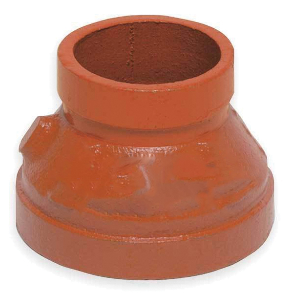 Gruvlok® 0390028439 Orange Painted Carbon Steel SCH 40 Fabricated Concentric Reducer, 3 in x 1-1/2 in, Grooved