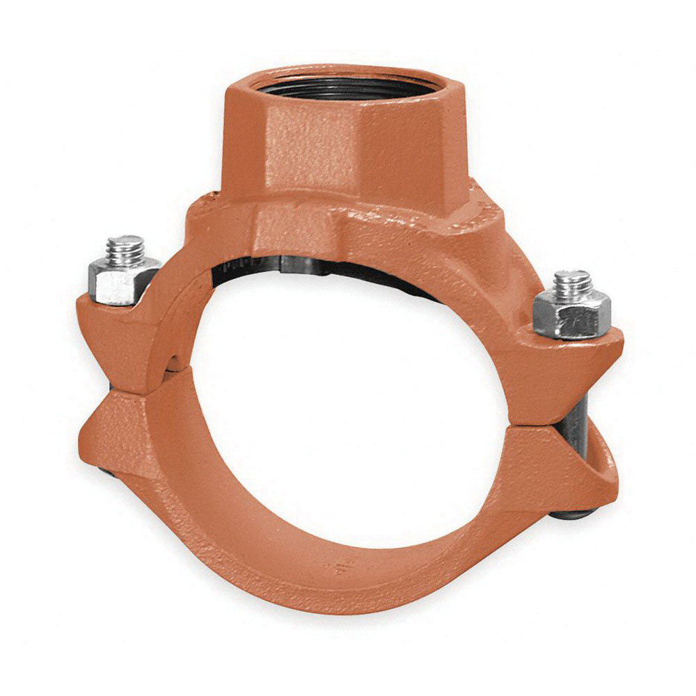 Gruvlok® 0390171254 Painted/Orange Ductile Iron Mechanical Clamp Tee, 4 in x 1-1/4 in, Grooved x FNPT