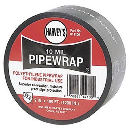 Harvey® 014100 Pipe Wrap, 2 in W x 100 ft L x 10 mil T, Black