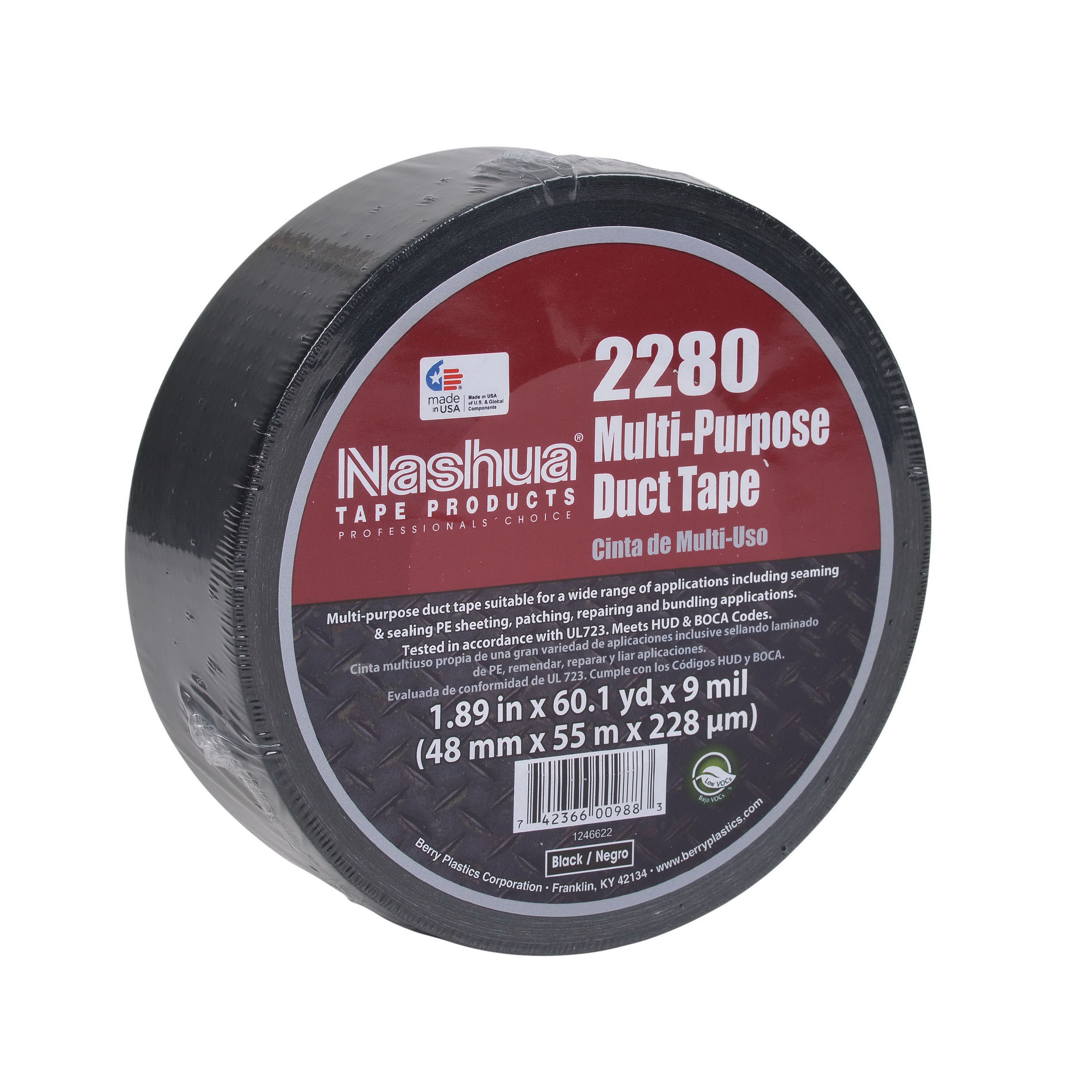Harvey® 014390 Polycloth Duct Tape, 2 in x 180 ft, Black