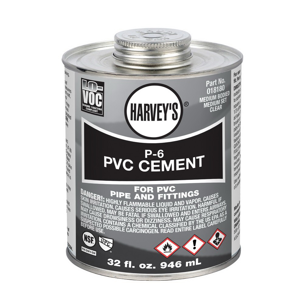 Harvey® 018180-12 Medium PVC Cement, 32 oz Can, Clear