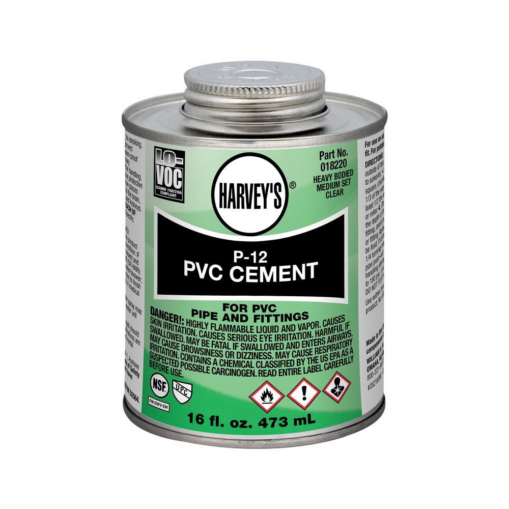 Harvey® 018220-12 Heavy PVC Cement, 16 oz Can, Clear