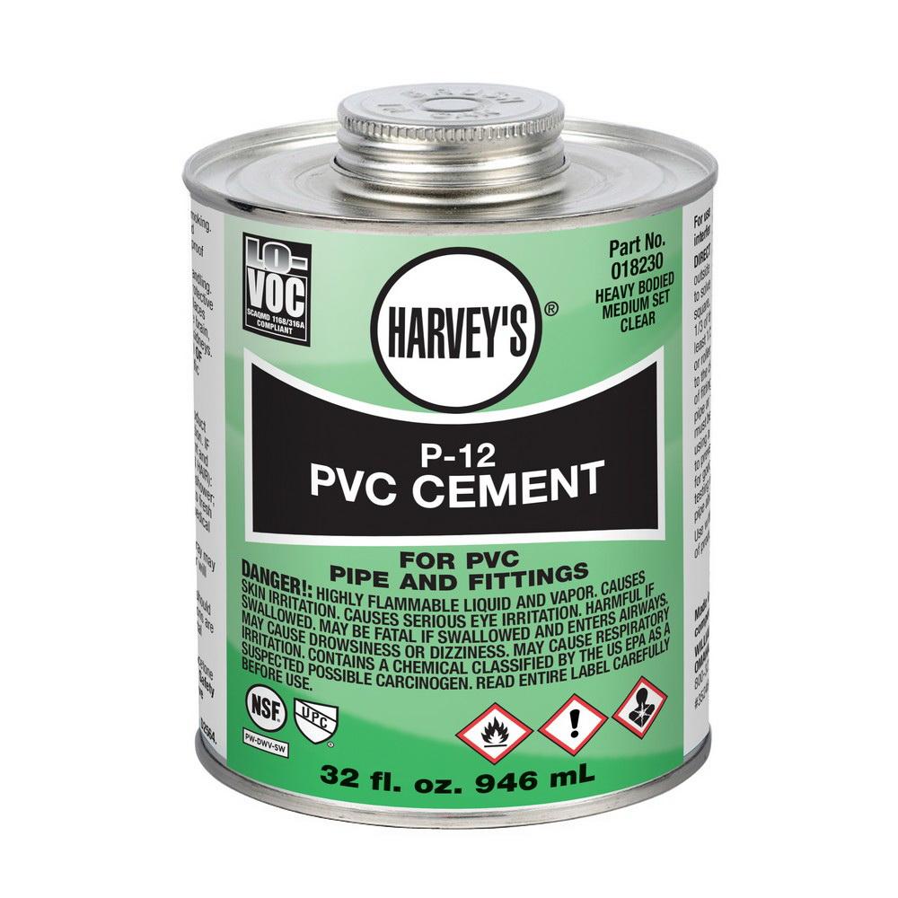 Harvey® 018230-12 Heavy PVC Cement, 32 oz Can, Clear