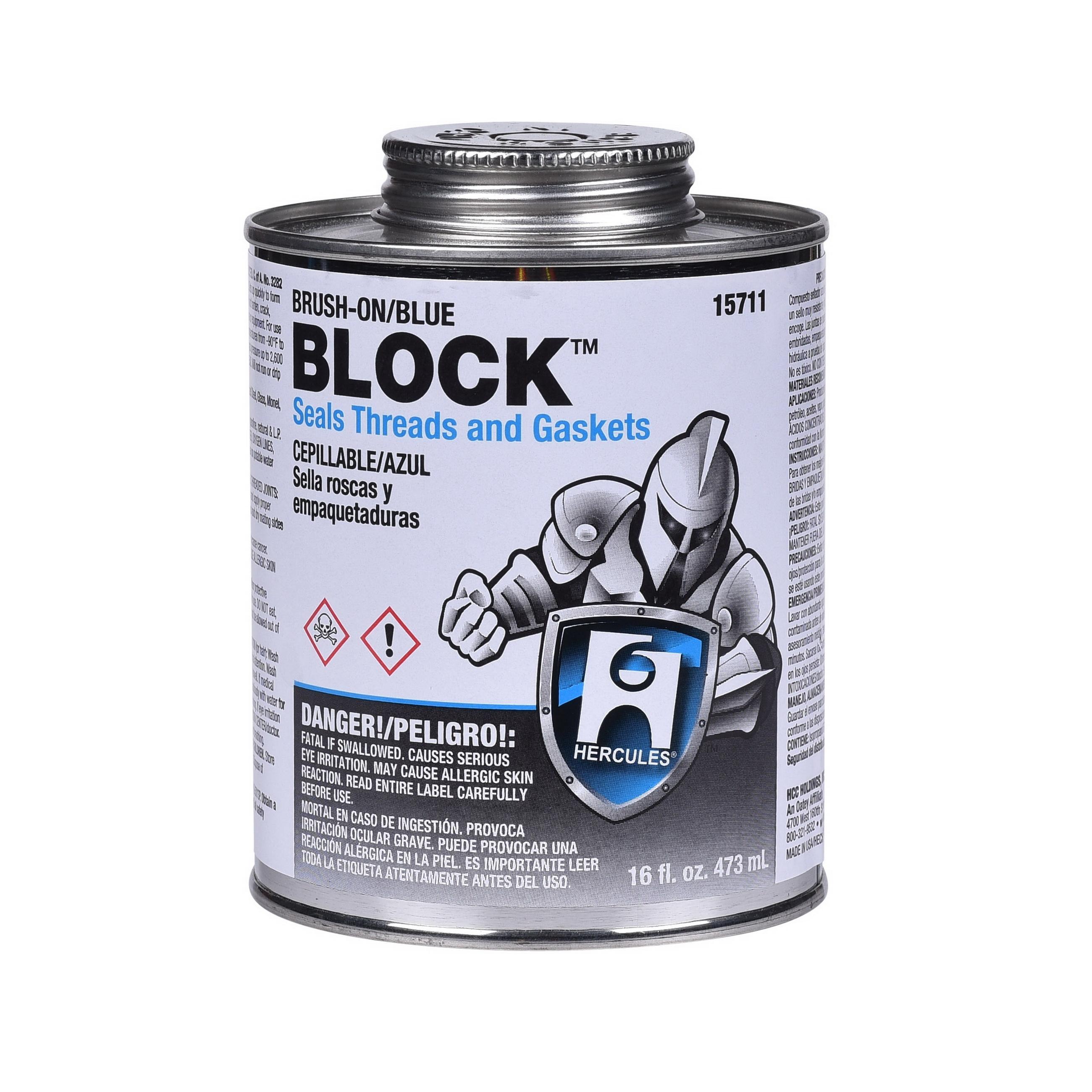 Hercules® BLOCK™ 15711 All Purpose Pipe Thread Sealant, 1 pt Can, Blue