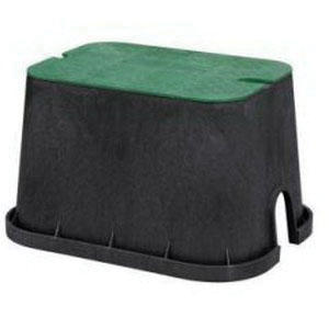 HYDRAPRO DUR120 Black/Green Polypropylene Rectangular Valve Box with Lid, 16-7/8 in x 11-3/4 in x 12-1/4 in