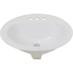 HYDRAPRO LAV017 White Vitreous China Self Rimming Drop-In Lavatory Sink, 1-Bowl, 3-Faucet Hole