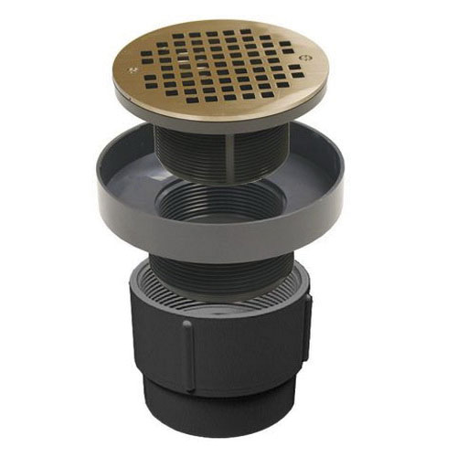 Jones Stephens™ PlumBest™ LTConnections™ D50460 Black PVC Pipe Fit Drain Base with Round Strainer, 3 in x 4 in