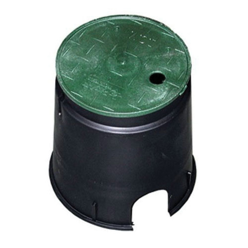 Jones Stephens™ M06006 Black/Green Plastic Round Residential Valve Box with Lid, 6 in