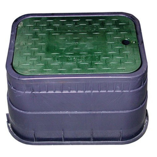 Jones Stephens™ M12001 Black/Green Plastic Rectangular Water Meter Box with Solid Lid, 21-1/4 in x 15-15/16 in x 12 in