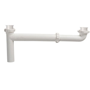 Keeney 120W White Polypropylene Adjustable End Outlet Continuous Waste, Slip Joint/Direct Connect