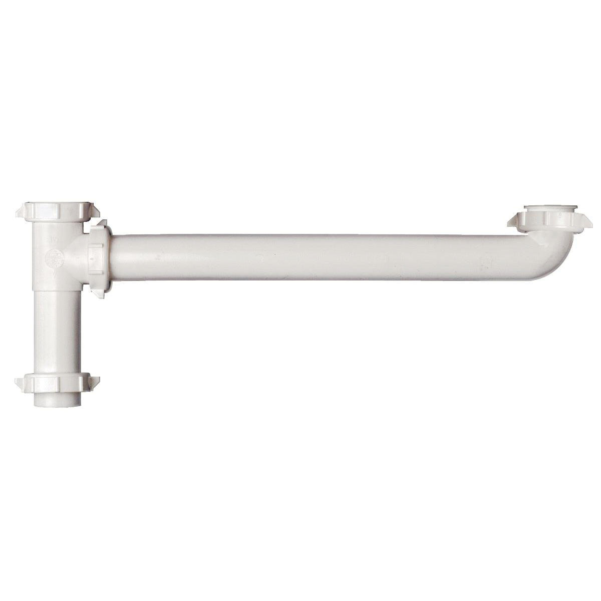 Keeney 122TTW White Plastic End Outlet Continuous Waste, Slip Joint/Direct Connect