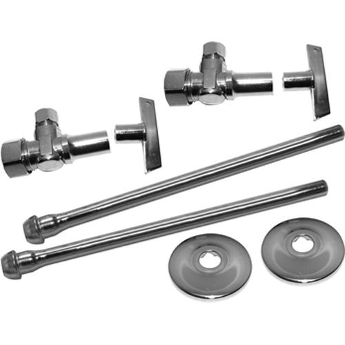 Keeney 2622PCLKL12LF Chrome Plated Brass Loose Key Lavatory Supply Kit, 1/2 in Compression x 3/8 in Compression