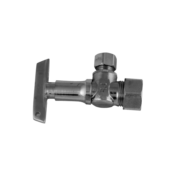 Keeney 2622PCLKLF Brass Quarter Turn Angle Water Supply Stop Valve, 5/8 in x 3/8 in, Compression