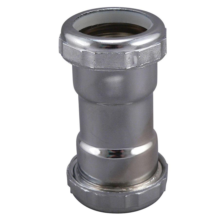 Keeney 669K Chrome Plated 22 ga Brass Tubular Slip Joint Repair Coupling, 1-1/4 in
