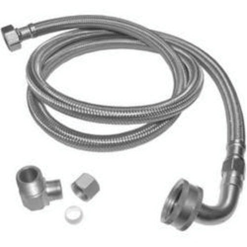 Keeney PP23834 Chrome Plated 304 Stainless Steel Dishwasher Connector with Elbow, 3/8 in, Compression, 72 in L