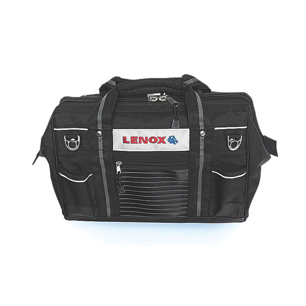 Lenox® 1787426 Black Canvas Contractor Tool Bag, (14) Interior Pockets, 10 in H x 16 in W x 12 in D