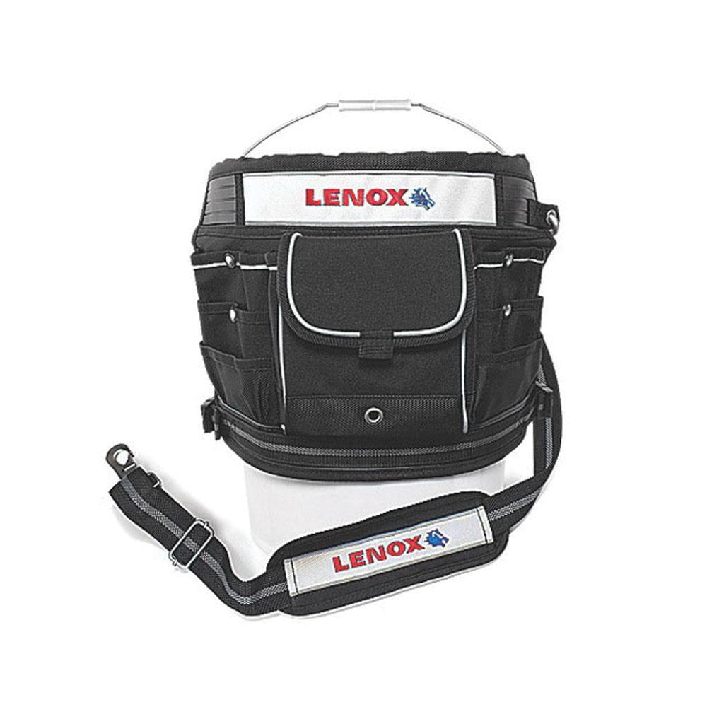 Lenox® 1787473 Black Canvas Bucket Tool Organizer, (22) Exterior Pockets, (12) Interior Pockets, 12 in H x 19 in W x 1 in D