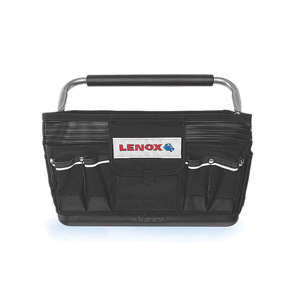 Lenox® 1787474 Black Plumbers Tote, (9) Exterior Pockets, (14) Interior Pockets, 10-1/2 in H x 17-1/2 in W x 10 in D