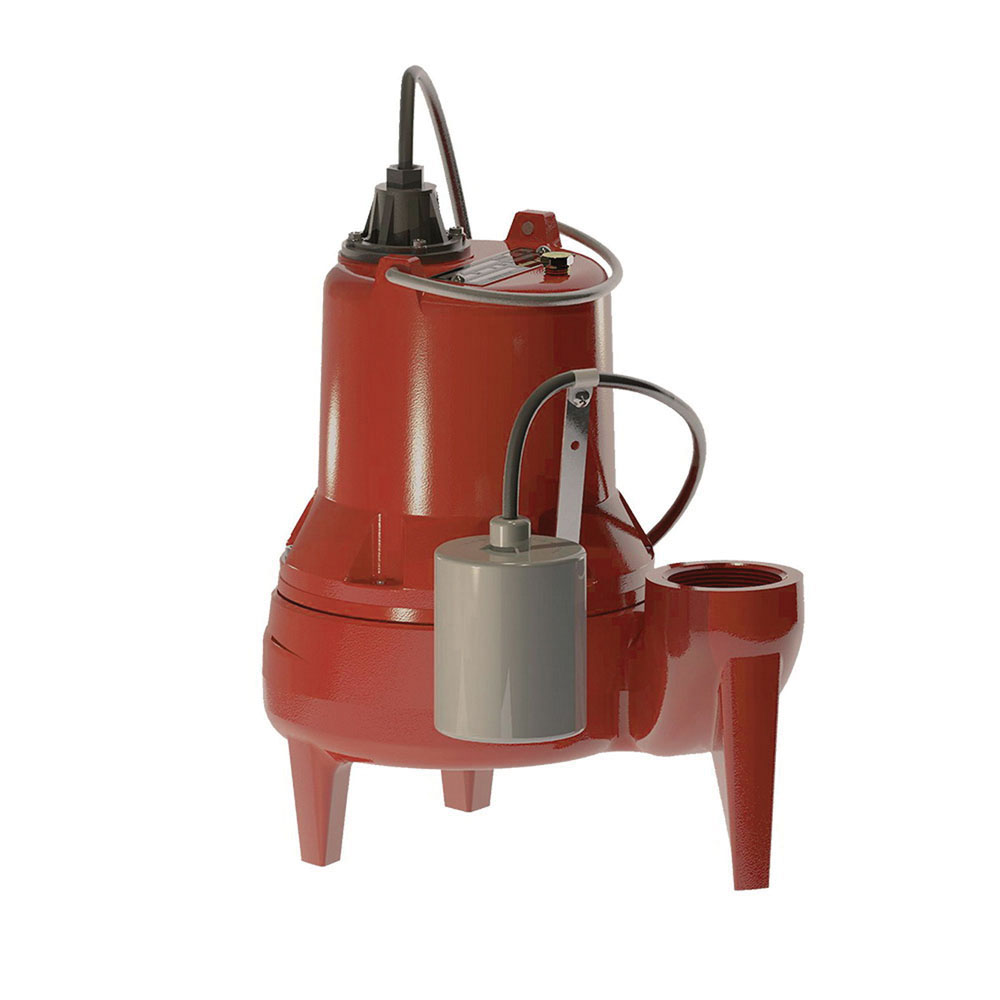 Liberty Pumps® LE51A Red Cast Iron 1-Phase Submersible Sewage Pump, 53 gpm at 20 ft of Head, 0.5 hp, 1725 rpm