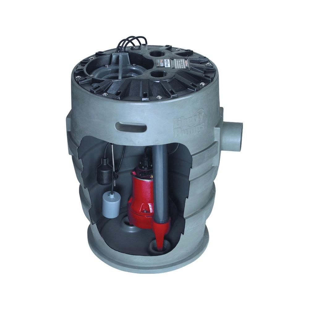 Liberty Pumps® P372LE41 Polyethylene Submersible Simplex Sewage Pump System, 9 - 122 gpm, 0.4 hp, 1550 rpm