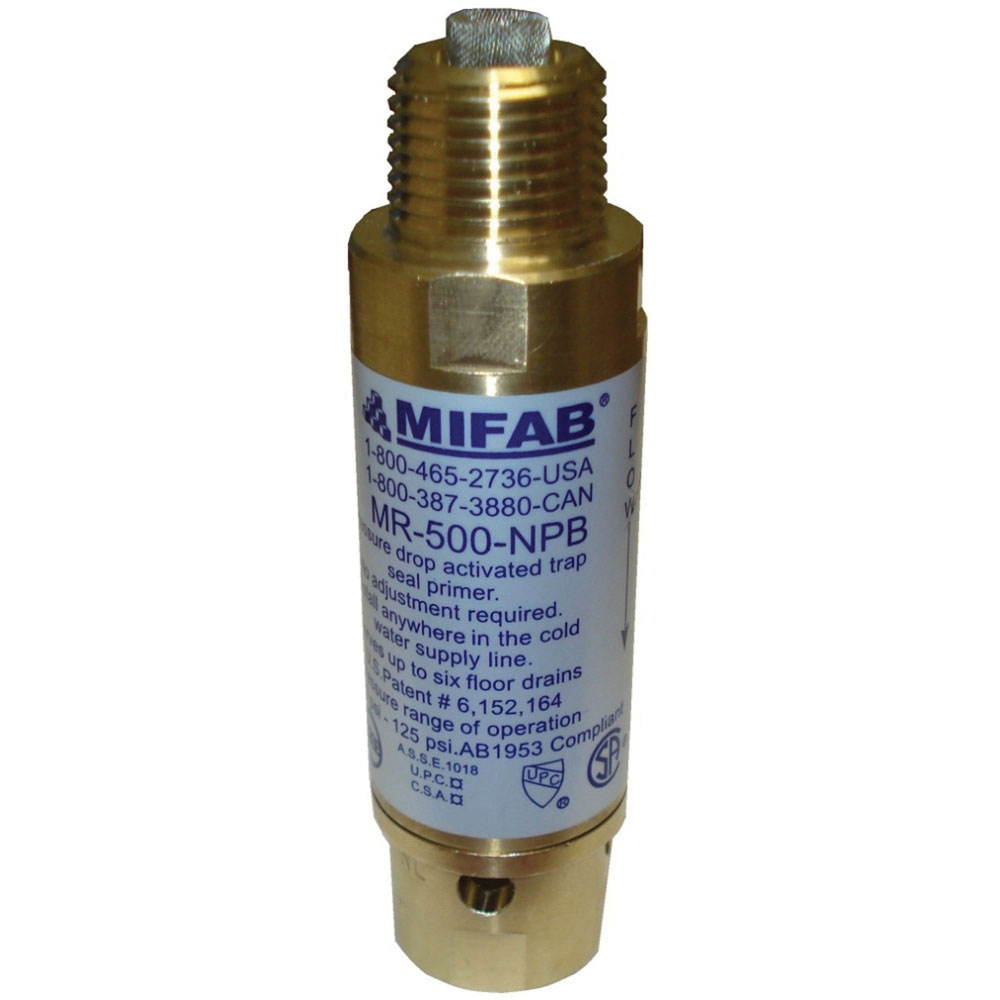 MIFAB® MR-500-NPB Brass Pressure Drop Activated Trap Seal Primer, 1/2 in, Male x MNPT