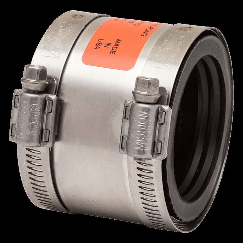 Mission™ Band-Seal® CK 215 301 Stainless Steel Special Coupling, 2 in x 1-1/2 in, Cast Iron x Copper, Domestic