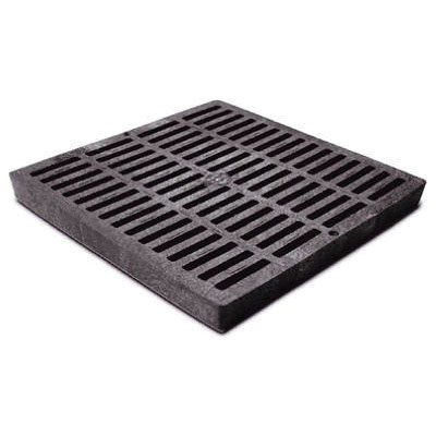 NDS® 1211 Black HDPE Square Flat Catch Basin Grate, 155.28 gpm, 11-3/4 in x 11-3/4 in x 1-1/8 in