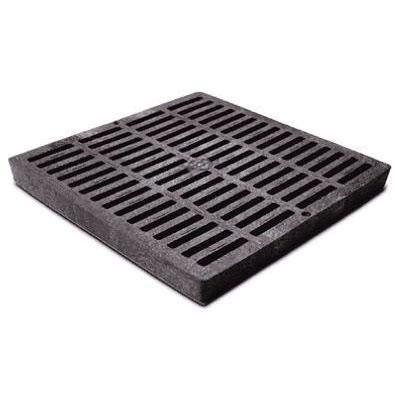 NDS® 1211 Black HDPE Square Flat Catch Basin Grate, 155.28 gpm, 11-3/4 in x 11-3/4 in x 1-1/8 in