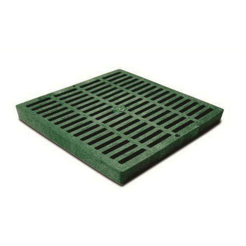 NDS® 1212 Green HDPE Square Flat Catch Basin Grate, 155.28 gpm, 11-3/4 in x 11-3/4 in x 1-1/8 in