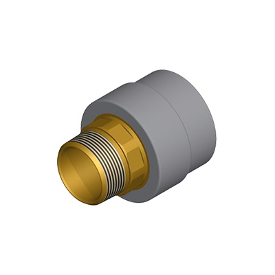 Niron 27NRFM2534NPT Gray PP-RCT Type A Adapter, 3/4 in, Socket Fusion x Lead Free Brass MNPT