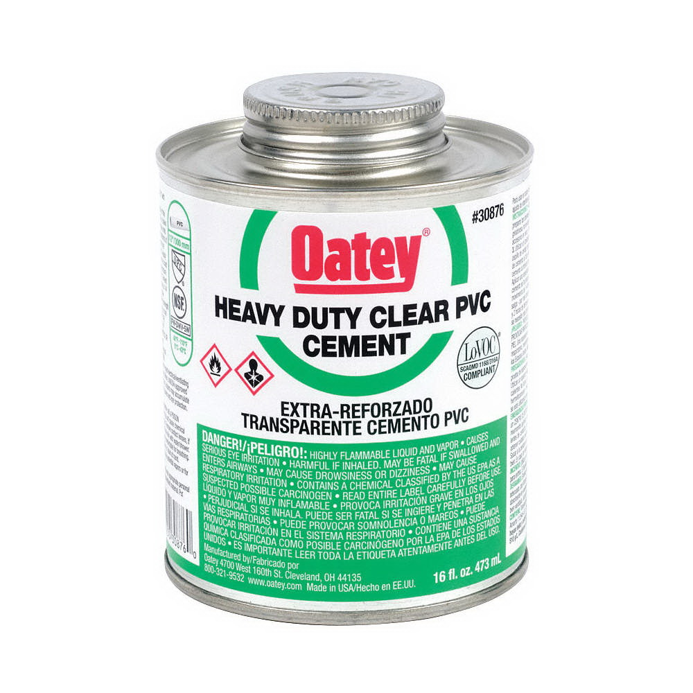 Oatey® 30876 Heavy Duty PVC Cement, 16 oz Can, Clear